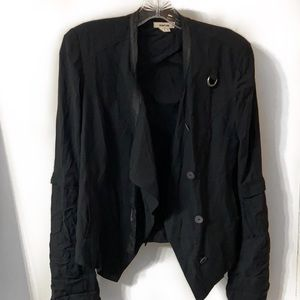 Helmut Lang Button Leather Trim Jacket Black